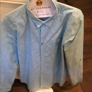 Ted Baker light Blue linen Button Down